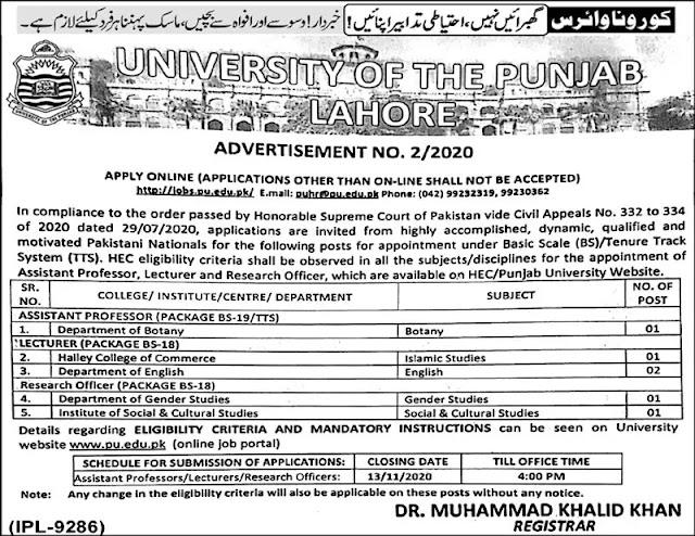 University of The Punjab Lahore Jobs 2020