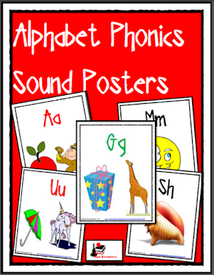 Free Alphabet Phonics Posters with bright, colorful pictures go give young students and esl students picture clues as to the sounds made by each letter - free download from Raki's Rad Resources