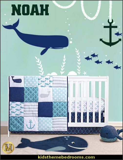 whale crib bedding whale wall decals whale rug whale plush toys whale baby nursery decorating  Whale Wall Decal for Baby Nursery - Under Water Sea Ocean Fish Wall Decor Art