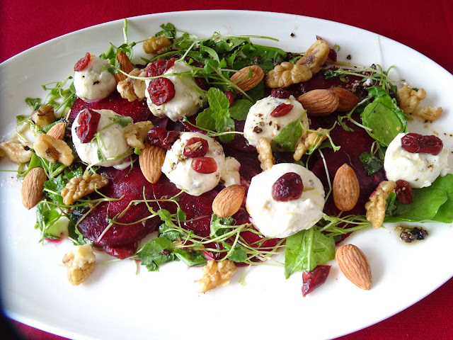 Beetroot salad with labneh & dried cranberries