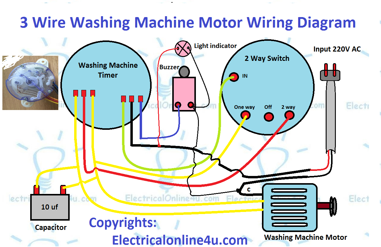 [SCHEMATICS_4ER]  3 wire washing machine motor wiring diagram - Electricalonline4u | Wiring Diagram Of Washing Machine Motor |  | Electricalonline4u