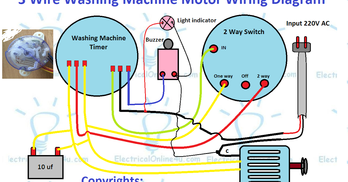 3 Wire Washing Machine Motor Wiring Diagram Electricalonline4u