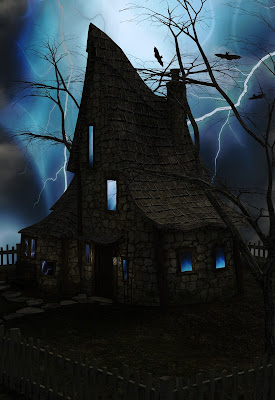 An old dark house with lightning flashing in the night-time sky.