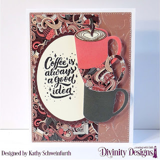 But First Coffee, Stamp/Die Duos: Cocoa & Coffee, Embossing Folder: Flourishes, Custom Dies: Pierced Rectangles, Ovals, Scalloped Ovals, Paper Collection: Latte Love