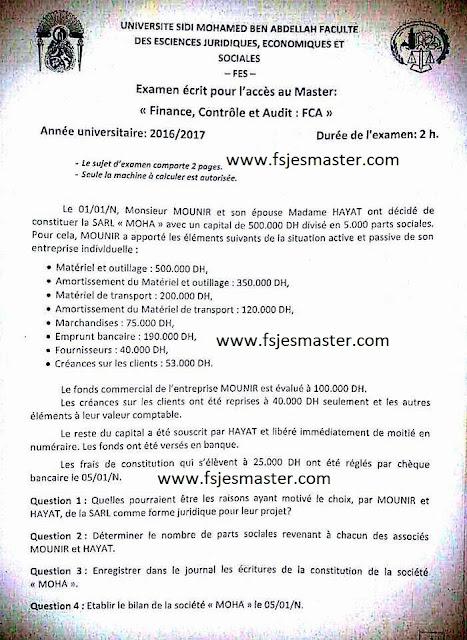 Exemple Concours d'accès au Master Finance Contrôle et Audit (FCA) 2016/2017 - Fsjes Fès