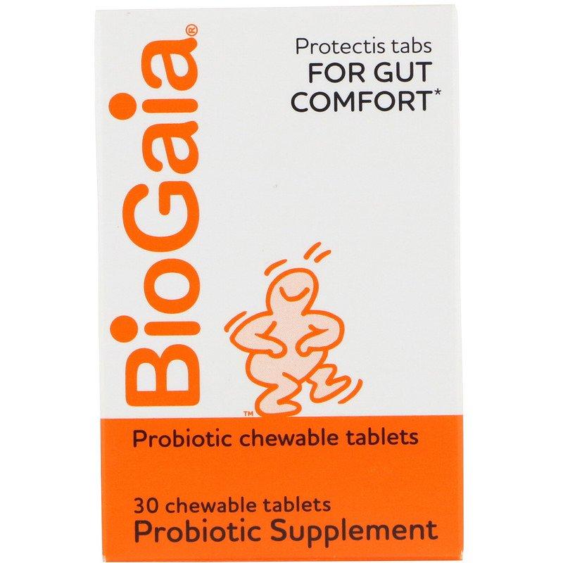 BioGaia, Пищевая добавка с пробиотиками, лимонный вкус, 30 жевательных таблеток