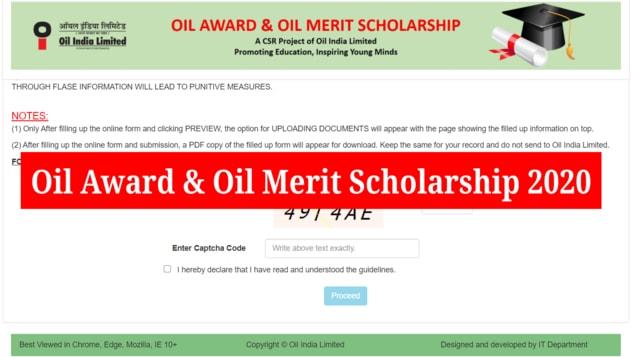 OIL Award and OIL Merit Scholarship, 2020