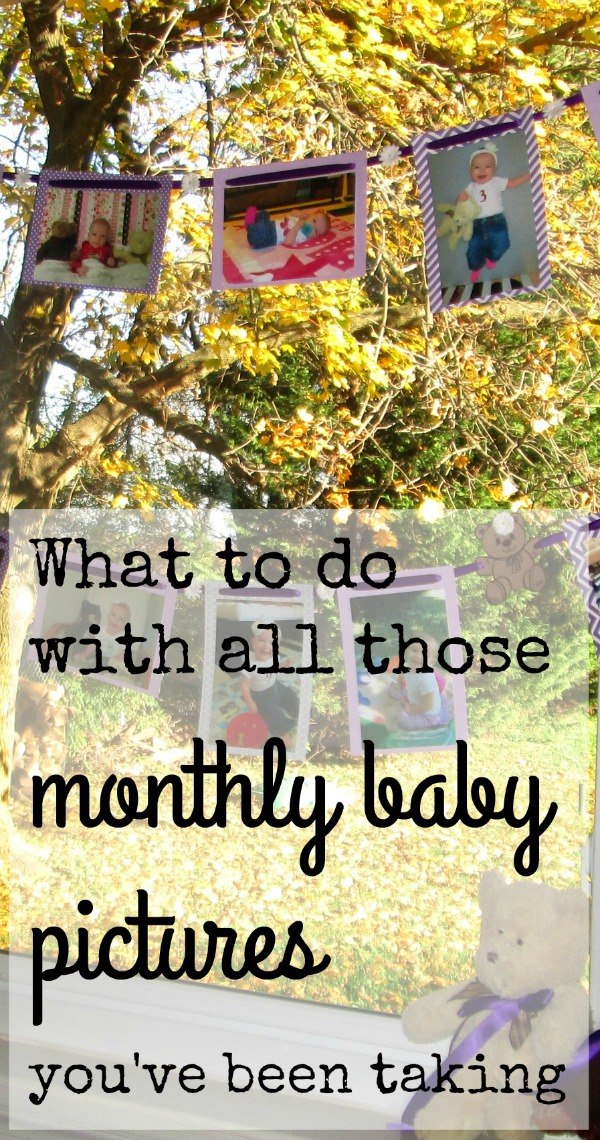 what to do with all those monthly baby photos you've been taking: make a photo banner for your baby's first birthday party