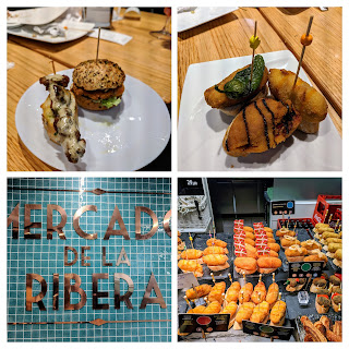 Where to eat in Bilbao Spain: Collage of pintxos from Mercado de la Ribera