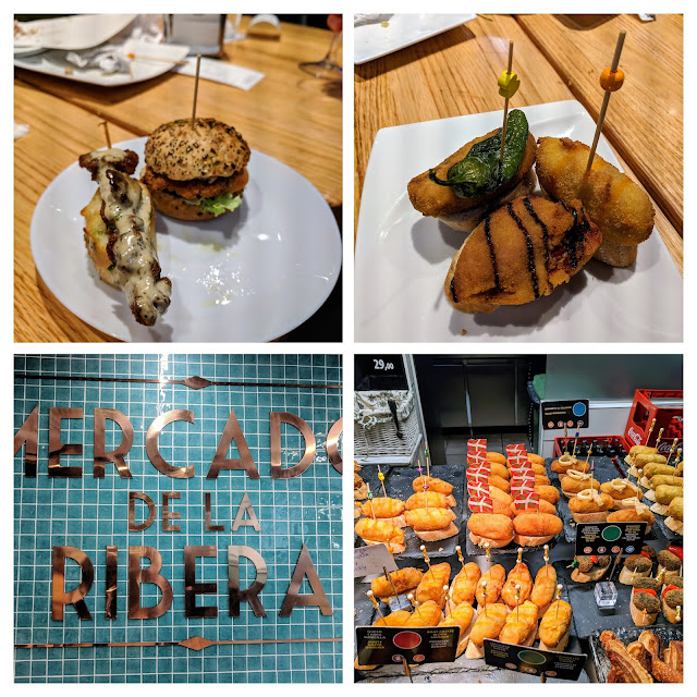 Places to eat in Bilbao Spain: Collage of pintxos from Mercado de la Ribera