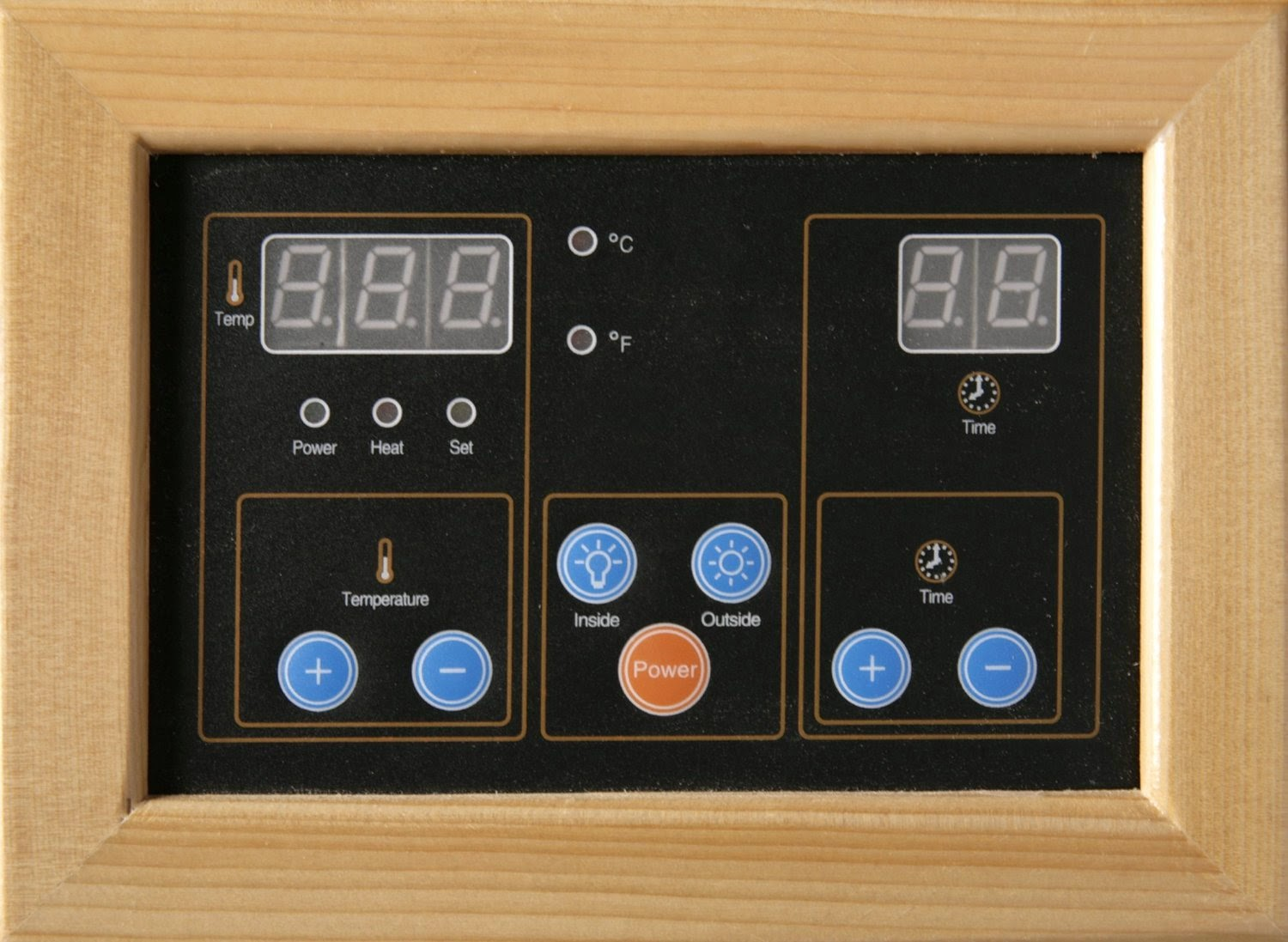 Radiant Saunas BSA2409 control panel, EZ-Touch dual interior and exterior LED control panels