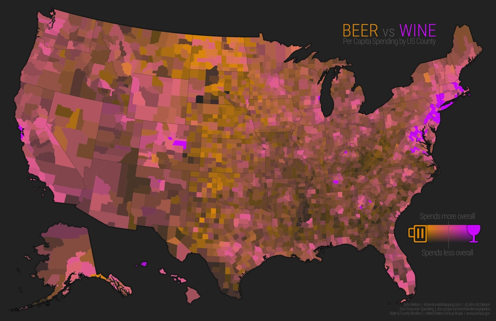 Beer vs Wine per capita spending by U.S. county