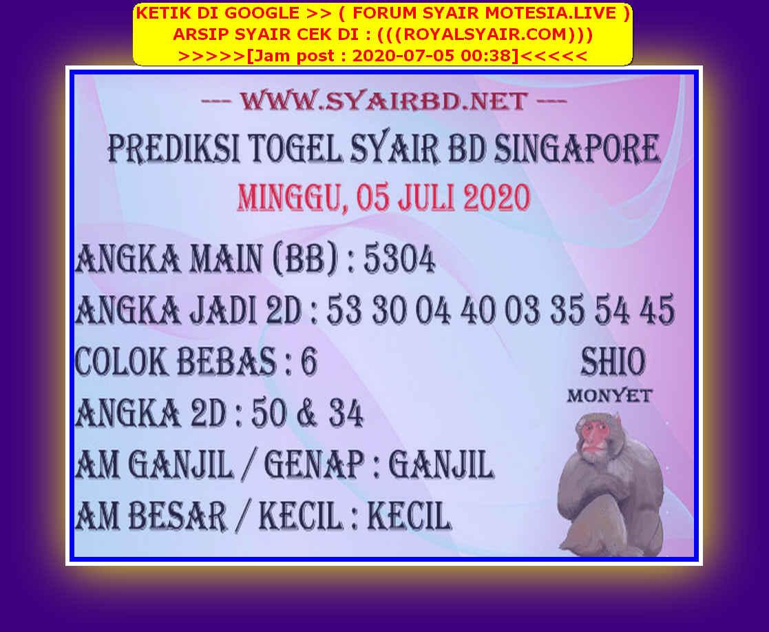 Kode syair Singapore Minggu 5 Juli 2020 227