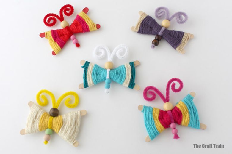 yarn butterfly craft  - summer camp craft for kids