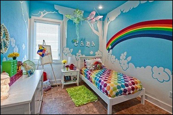 rainbow wall mural  rainbow wall decals - rainbow bedding kids rainbow bedroom decorating