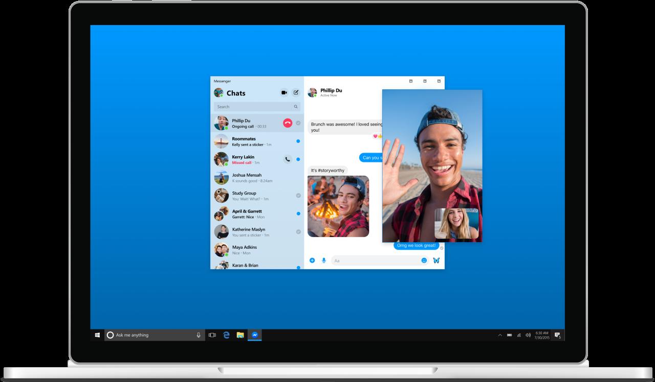 Messenger App per Windows 10 ottiene l'icona nel System Tray della taskbar