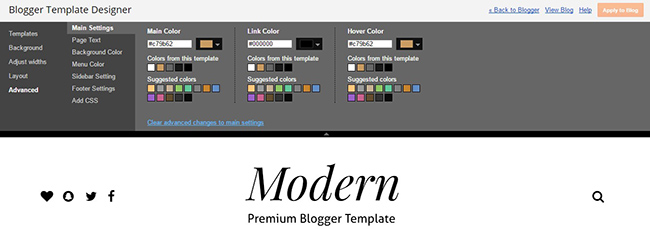 modern grid blogger template customizer