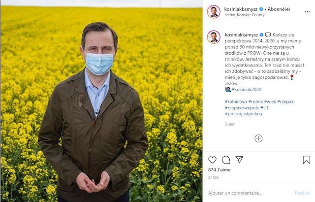 Władysław Kosiniak-Kamysz w maseczce na tle żółtego pola rzepaku