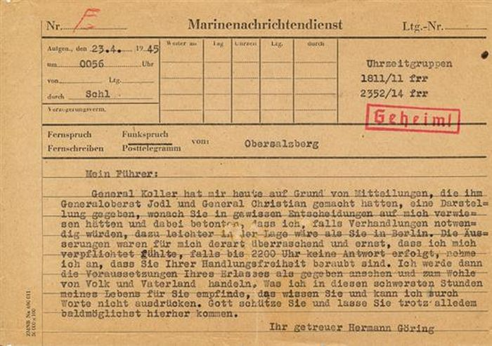 The telegram that drove Hitler to suicide, recently sold for $55,000