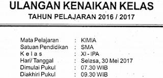 Download Contoh Soal Siap UKK/PAS/UAS Semester 2/II Kelas 11/XI SMA/MA Mapel Kimia Kurikulum 2013-Peminatan-MIPA