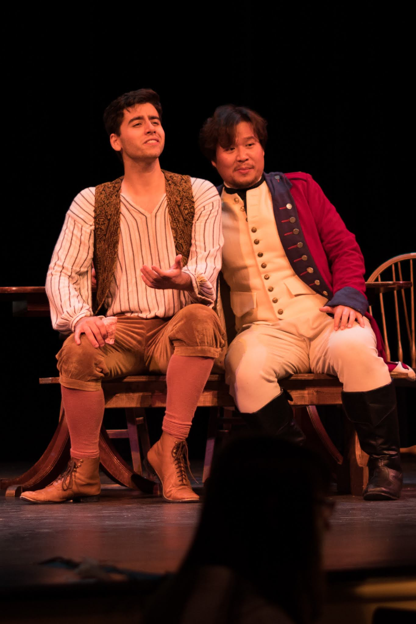 IN REVIEW: tenor JORDAN COSTA as Nemorino (left) and baritone SUCHAN KIM as Belcore (right) in the Sapphire Cast of Opera in Williamsburg's September 2021 production of Gaetano Donizetti's L'ELISIR D'AMORE [Photograph © by Diego Valdez; used with permission]