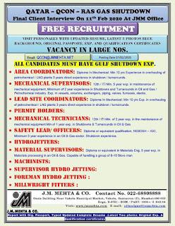 QCON Ras Gas Free Recruitment in Qatar