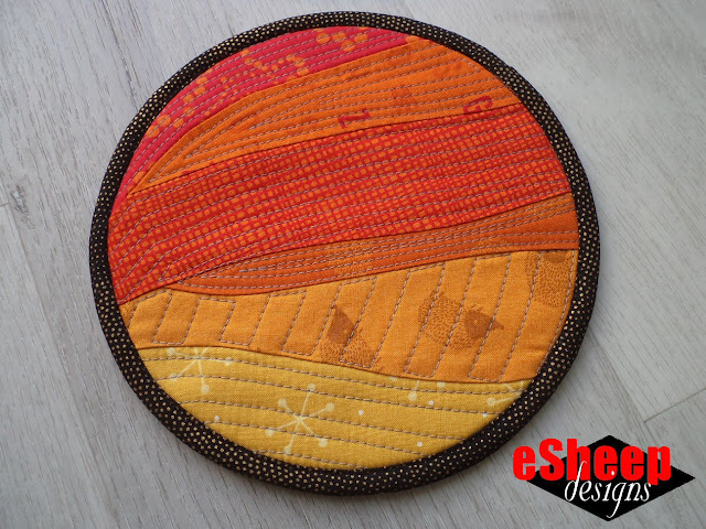 Improv Curved Patchwork Quilted Mini Mat by eSheep Designs