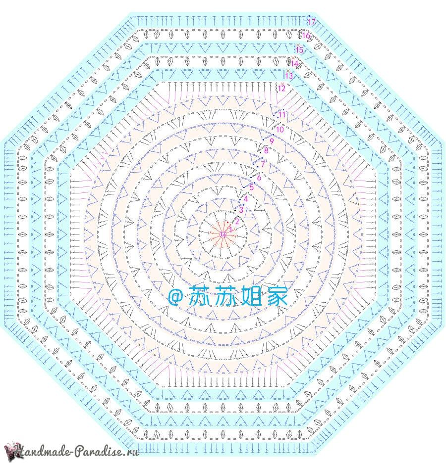 Схемы вязания пледа с розами и ромашками (5)