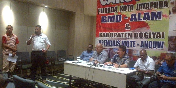 Team Kampanye dan Paslon Walikota dan Wakil Walikota BMD – Alam, dalam jumpa pers yang dilaksanakan di kawasan Kemayoran Jakarta.