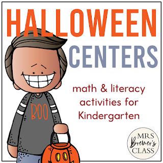 Kindergarten Halloween Centers with Math and Literacy Activities