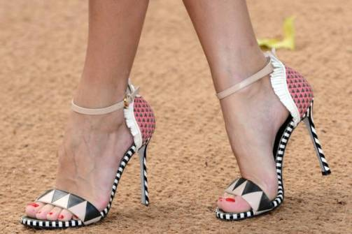 this is art: pretty geometric print black and white and pink heels by Sergio Rossi