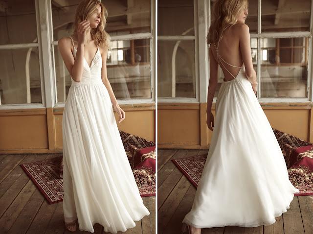 Minimalistyczna suknia ślubna z odkrytymi plecami od BIZUU.