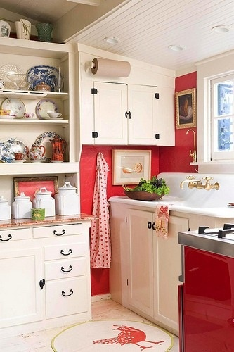 Kitchen White Cabinets Blue White Red Dishes