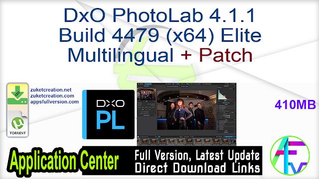 DxO PhotoLab 4.1.1 Build 4479 (x64) Elite Multilingual + Patch