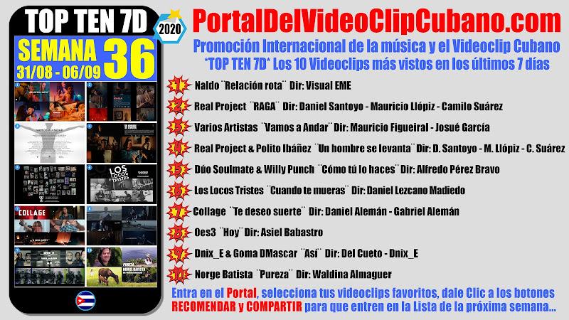 Artistas ganadores del * TOP TEN 7D * con los 10 Videoclips más vistos en la semana 36 (31/08 a 06/09 de 2020) en el Portal Del Vídeo Clip Cubano