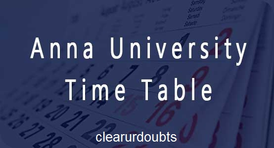 Anna University Timetable Nov dec 2016 Jan 2017 exam PDF