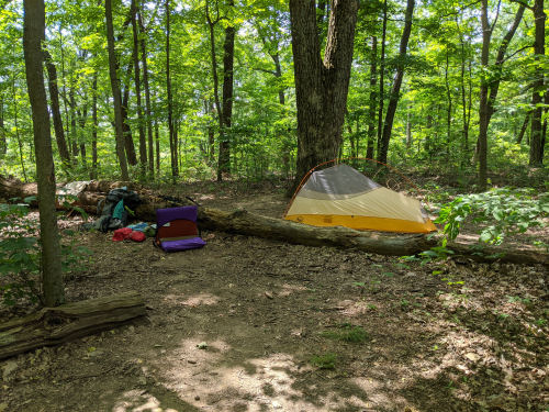 campsite on the Knobstone Trail