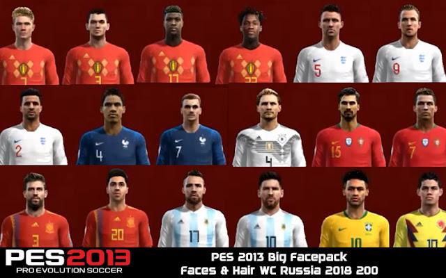 PES 2013 Big Facepack +200 Faces & Hair WC Russia 2018
