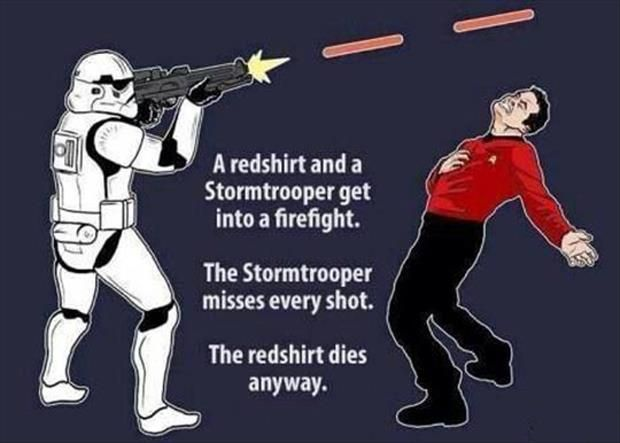 Stormtrooper vs Red Shirt, Star Wars + Star Trek mash-up - Friday Frivolity Star Wars edition, via Devastate Boredom - funny memes and video clips!
