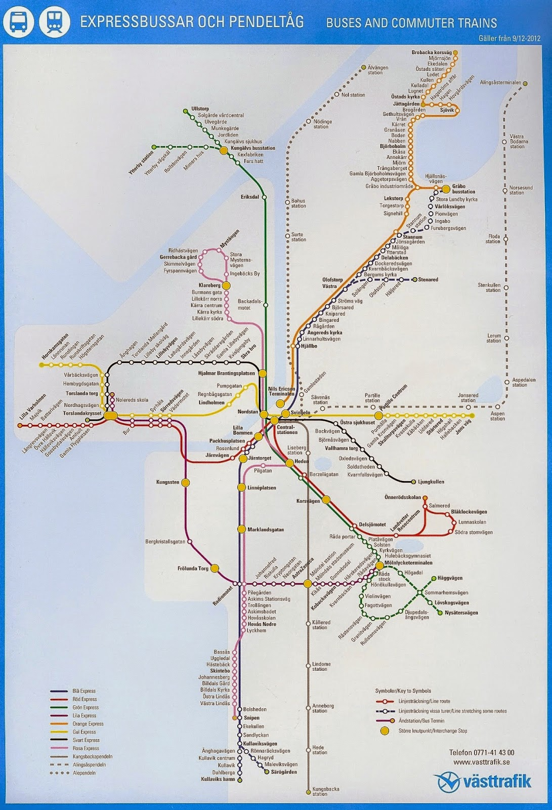 karta över spårvagnslinjer göteborg 2000 talet i bild: Västtrafik 2000 2012 karta över spårvagnslinjer göteborg