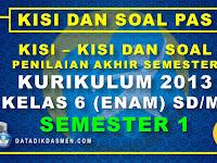 Penilaian Akhir Semester (PAS) Kelas 6 Semester 1 Tahun Pelajaran 2020 - 2021