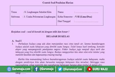Soal UH / PH Kelas 5 Tema 8 Kurikulum 2013 Revisi Tahun 2019