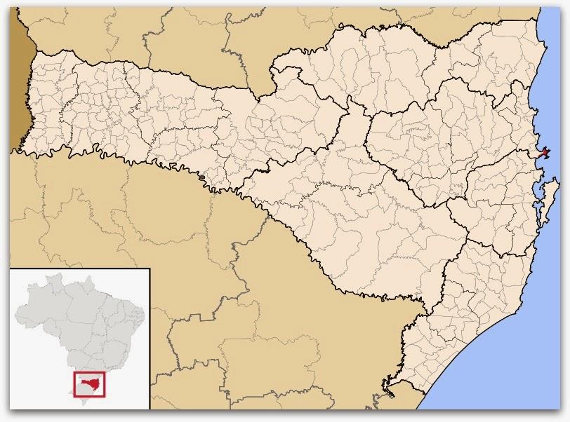 Cidade de Bombinhas, no mapa de Santa Catarina