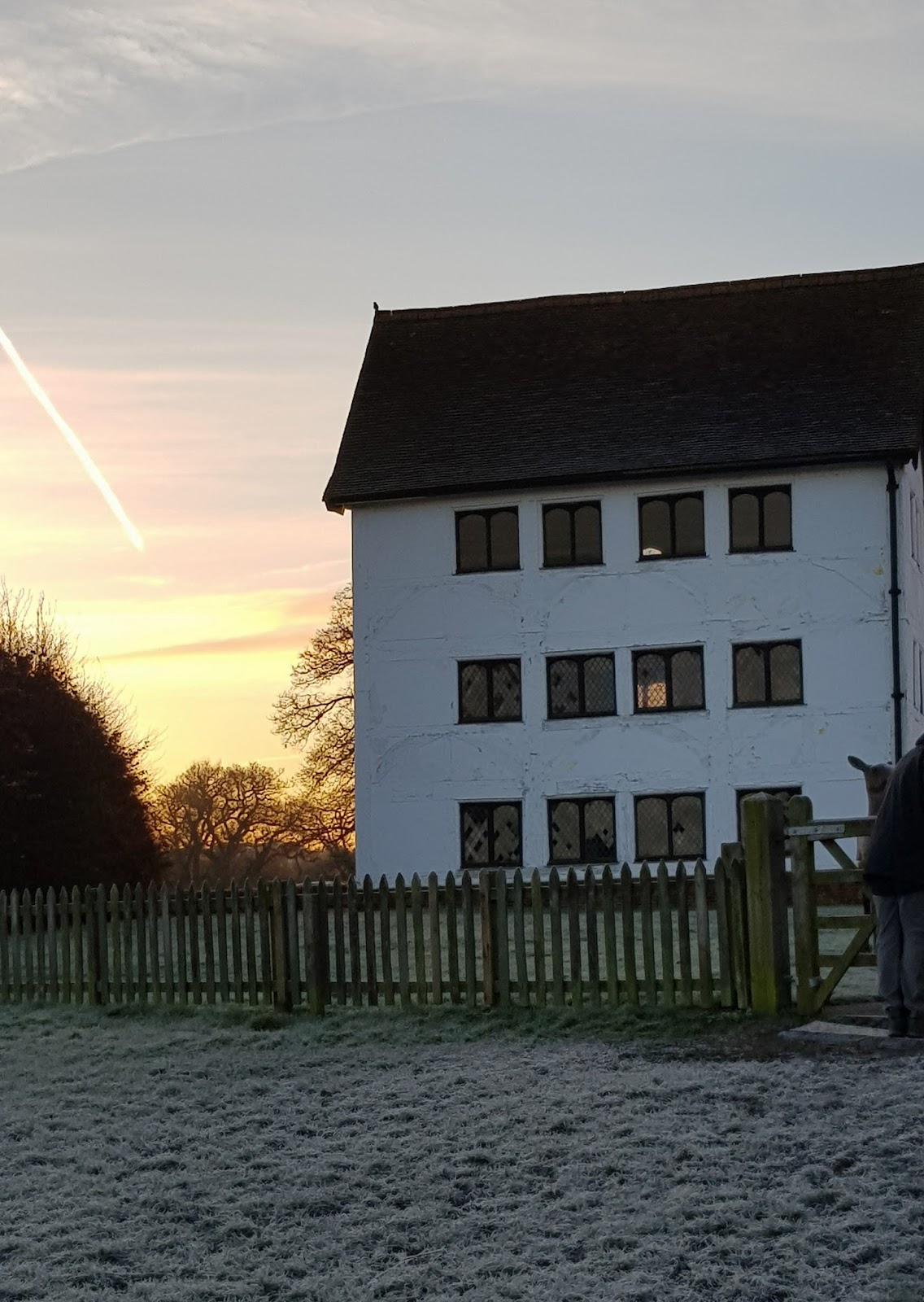 Image showing sunrise over the Queen Elizabeth 1 hunting lodge in Chingford on a crisp frosty day