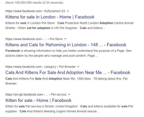 Animals for sale of Facebook listed by Google search