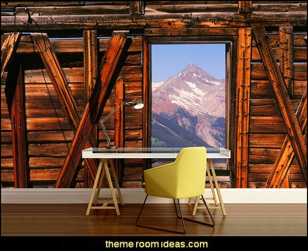 Room With A View (Mohlenkamp) Mural  Ski cabin decorating - ski lodge decor - winter cabin decorating ski resort bedroom ideas - winter wall murals - ski chalet theme bedroom decorating ideas - modern rustic style winter cabin decor - Swiss alps decoration Alpine theme decorating - adventure bedroom design ideas