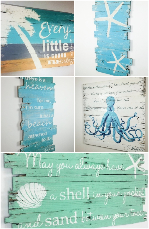 Coastal Beach Art on Wood with Quotes by Jimmy Buffett