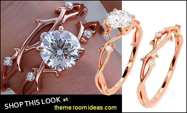 Twig Engagement Set, Rose Gold Branch Bridal Set, Nature Engagement Set  womes rings