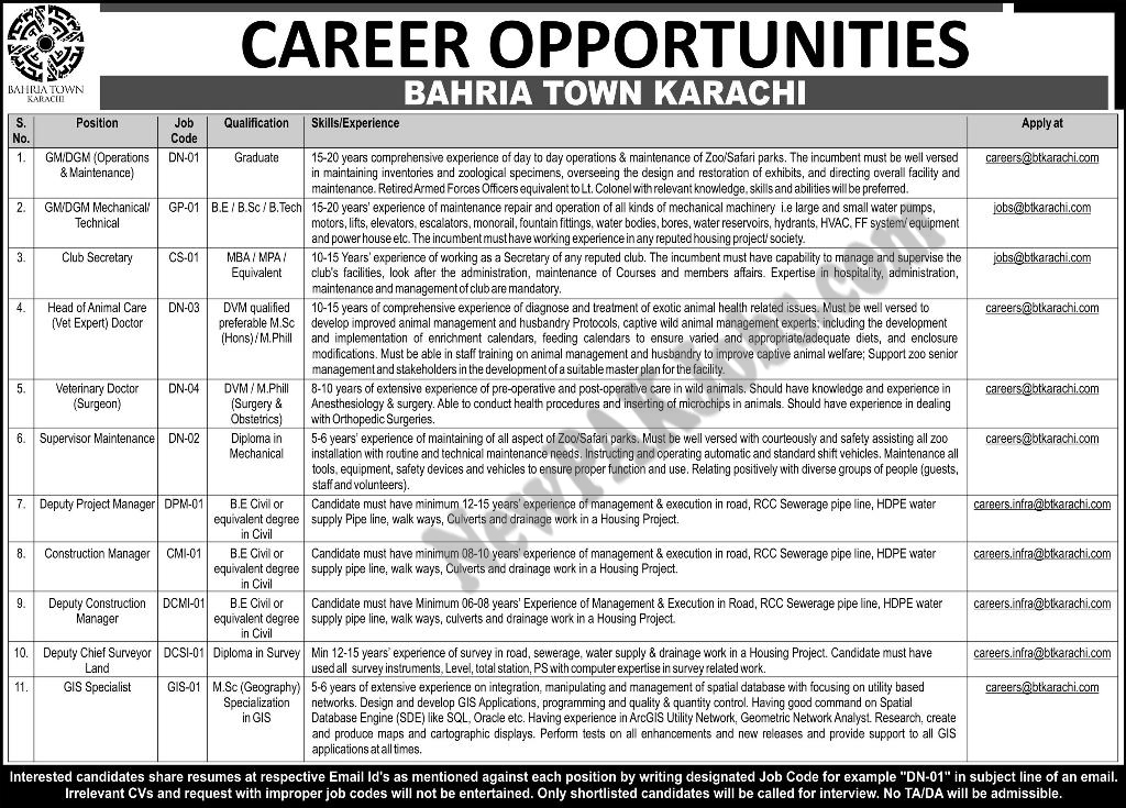 Career Opportunities in Bahria Town Karachi