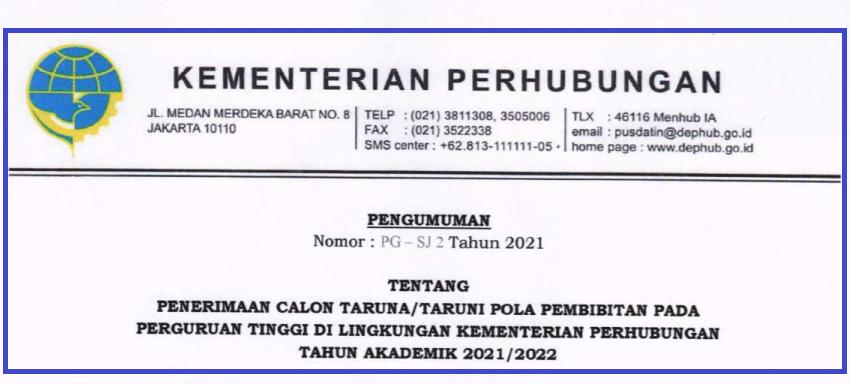 gambar jadwal seleksi kemenhub sekolah kedinasan 2021